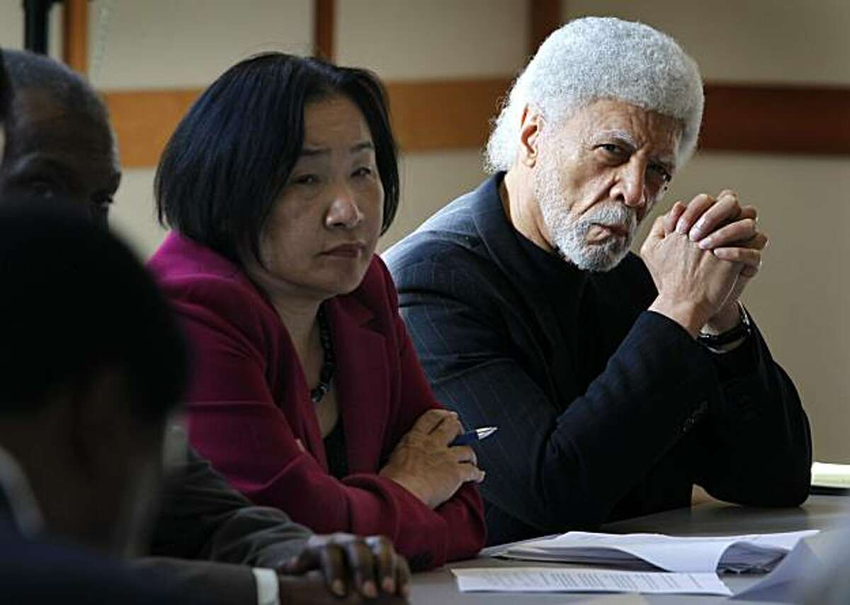 Oakland Mayor-elect Jean Quan and current mayor Ron Dellums participate in a public hearing convened by the California chapter of the NAACP in Oakland, Calif., on Thursday, Dec. 16, 2010. The meeting was called in the wake of the police shooting that killed Derrick Jones on Nov. 8.