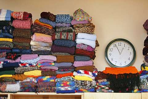 Volunteers knitting thousands of scarves for needy - SFGate