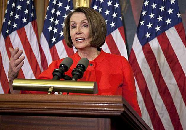 "Speaker of the House Nancy Pelosi, D-Calif., gestures during a news conference on the House vote to repeal the ""don't ask, don't tell"" policy on Wednesday, Dec. 15, 2010 in Washington. Photo: Byline Withheld, AP"
