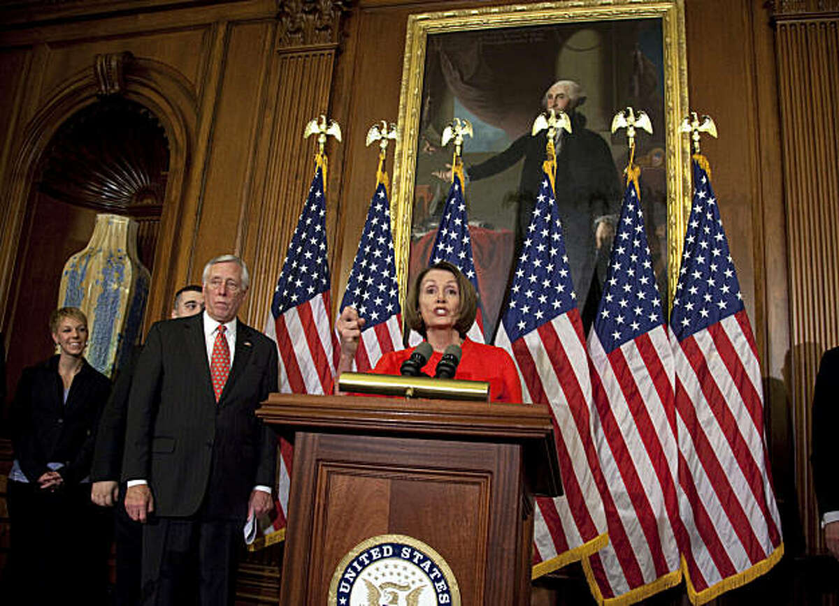 Speaker of the House Nancy Pelosi, D-Calif., gestures during a news conference on the House vote to repeal the