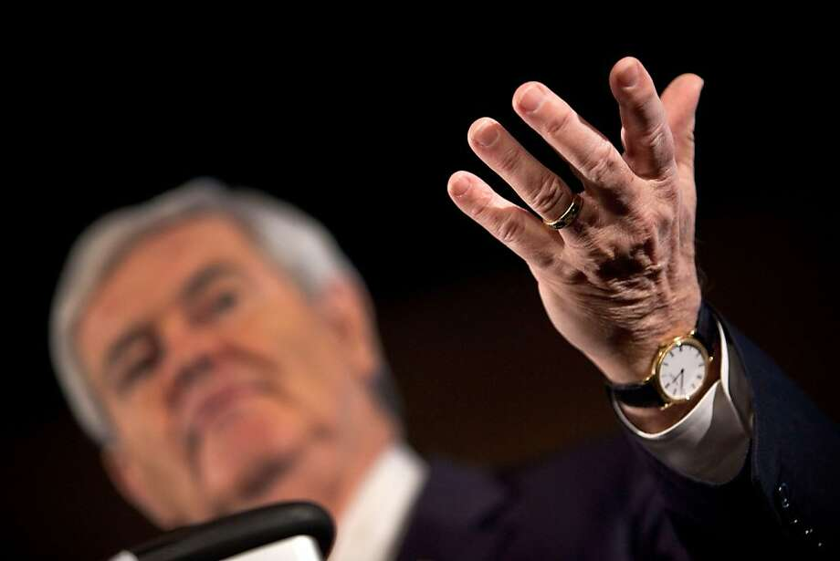 MANCHESTER, NH - JANUARY 09:  Republican presidential candidate, former Speaker of the House of Representatives Newt Gingrich speaks at a Public Service of New Hampshire (PSNH) town hall meeting on January 9, 2012 in Manchester, New Hampshire. Gingrich and the rest of the Republican field have taken aim with sharp attacks at front runner Mitt Romney with the New Hampshire primary only one day away.  (Photo by Andrew Burton/Getty Images) Photo: Andrew Burton, Getty Images
