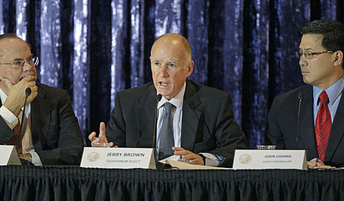 California Gov.-elect Jerry Brown, Treasurer Bill Lockyer, left, and Controller John Chiang conduct a public discussion of the state budget on the campus of UCLA in Los Angeles Tuesday, Dec. 14, 2010.