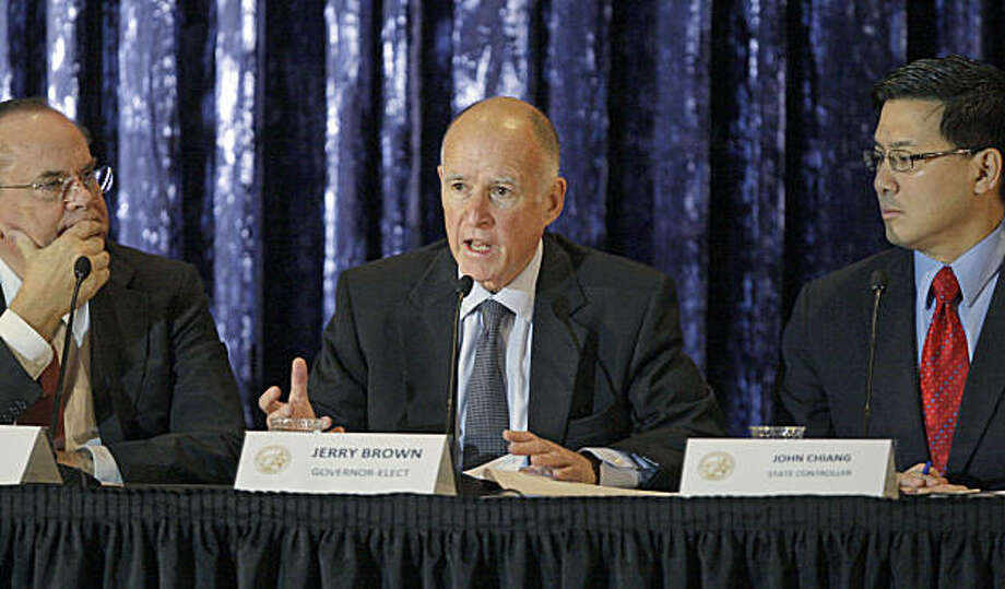 California Gov.-elect Jerry Brown, Treasurer Bill Lockyer, left, and  Controller John Chiang conduct a public discussion of the state budget on the campus of UCLA in Los Angeles Tuesday, Dec. 14, 2010. Photo: AP