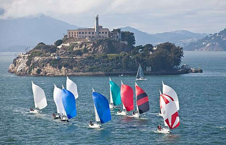 The J105 fleet in the Rolex Big Boat Series last weekend shows off the iconic visuals that America's Cup planners hope will seal San Francisco's bid to host racing 2011-2013. Photo: C. Rolex / Daniel Forster