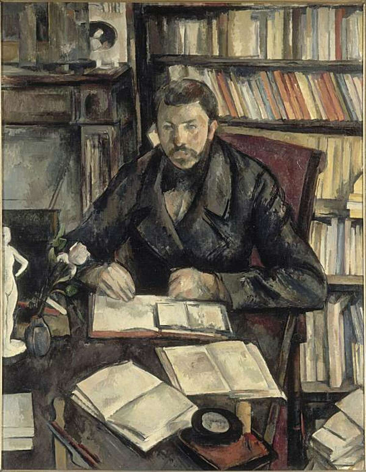 """Gustave Geffroy"" (1895-96) oil on canvas by Paul Cezanne"