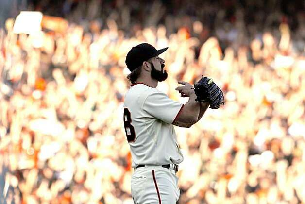 Giants closer Brian Wilson celebrates the team's victory as the last out is recorded. The San Francisco Giants played the Philadelphia Phillies at AT&T Park in San Francisco, Calif., on Tuesday, October 19, 2010, in Game 3 of the National League Championship Series. The Giants defeated the Phillies 3-0. Photo: Carlos Avila Gonzalez, The Chronicle