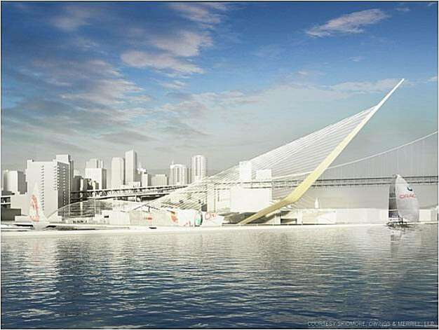 "Artist renderings of Piers 30-32, now a parking lot, would be the main public area, with an amphitheater, JumboTron, concessions and hospitality bases where contestants would dock their boats to meet journalists and spectators before racing  The sail inspired ""mast"" could be designed to catch rainwater and solar energy. Photo: Skidmore, Owings & Merrill, LLP"