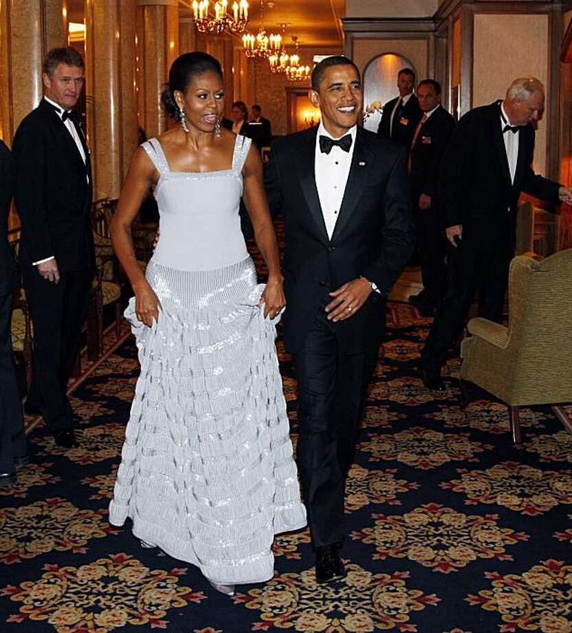 First Lady Michelle Obama and US President Barack Obama at the Grand Hotel in Oslo before attending the Nobel Prize banquet Thursday Dec. 10, 2009. Photo: Åserud, Lise, AP
