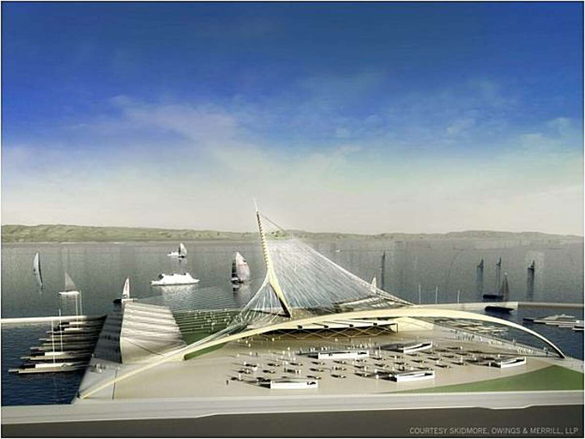 Artist renderings of Piers 30-32, now a parking lot, would be the main public area. The concession areas are shown here.