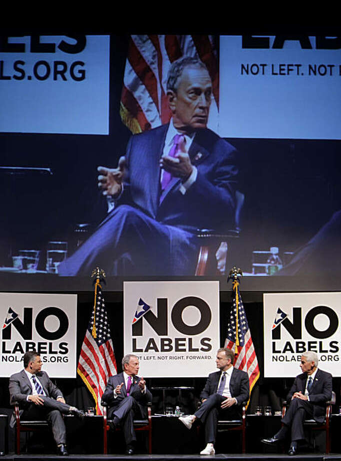 New York City Mayor Michael Bloomberg, second from left, speaks on a panel at the No Labels conference in New York, Monday, Dec. 13, 2010. Also on the panel is California Lt. Gov. Abel Maldonado, left, moderator Dylan Ratigan, second from right, and Florida Gov. Charlie Crist. Elected officials from across the country have started a new group, called No Labels, aimed at reducing political partisanship. The first meeting of the group attracted 1,000 attendees Monday in New York. Photo: Seth Wenig, AP
