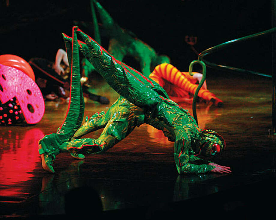 "A cricket costume is just one of many insects created by costume designer Liz Vandal for the newest Cirque du Soleil show, ""OVO,"" playing in San Francisco in December and January 2009. The designer borrowed inspiration from the graphic lines of Pierre Cardin and pleating techniques of Issey Miyake in creating the acrobats' garb. Photo: Courtesy Cirque Du Soleil"