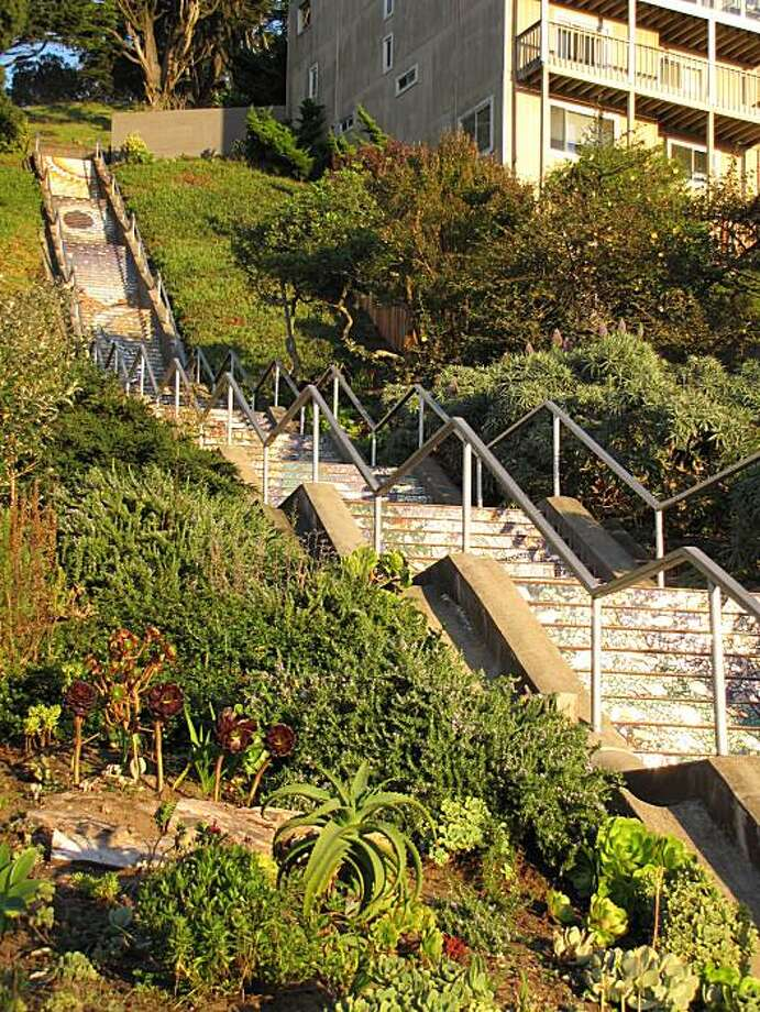 The steps at 16th Avenue and Moraga Street offer a splash of joy in Golden Gate Heights. Photo: John King