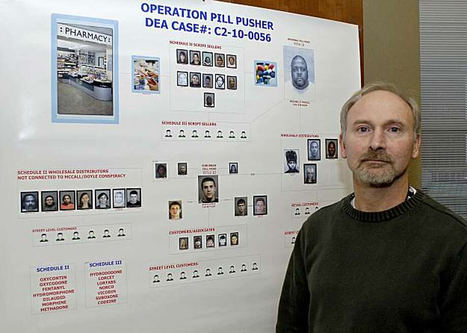 In this Dec. 1, 2010 photo, Dale Kasprzyk, acting head of the Drug Enforcement Administration in Buffalo stands next to a compilation chart of suspects in a recent prescription drug ring arrest raid in Buffalo, N.Y. Photo: Don Heupel, Associated Press