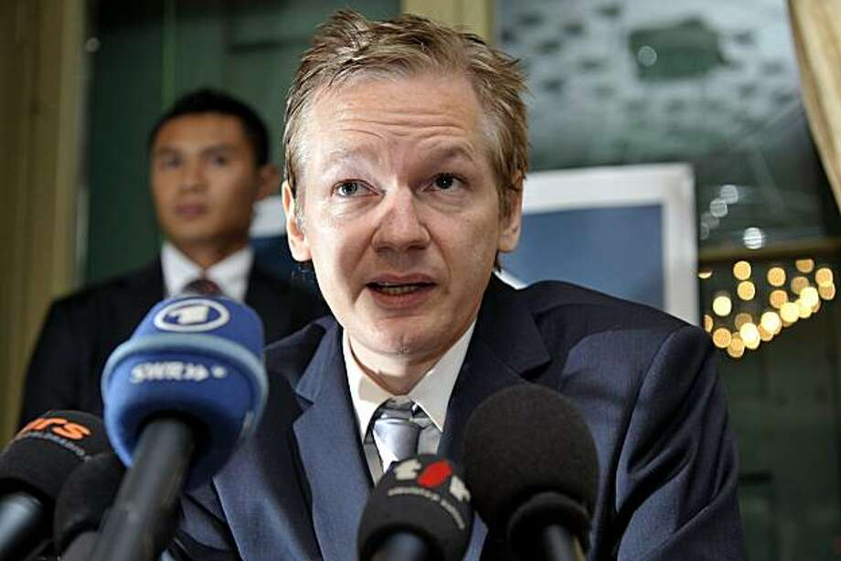 In this Nov. 4, 2010 file photo, Wikileaks founder Julian Assange speaks during a news conference at the Geneva press club, in Geneva, Switzerland. Assange's legal options narrowed on Thursday, Dec. 2, 2010 as he lost an appeal against a court order for his arrest and his British lawyer said authorities knew his precise location. Photo: Martial Trezzini, AP