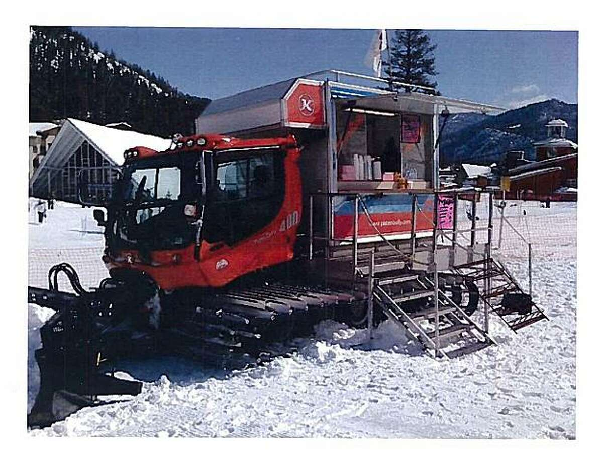 One of the new food carts that are built onto the back of old snow cat vehicles in the Mammoth Mountain ski area.