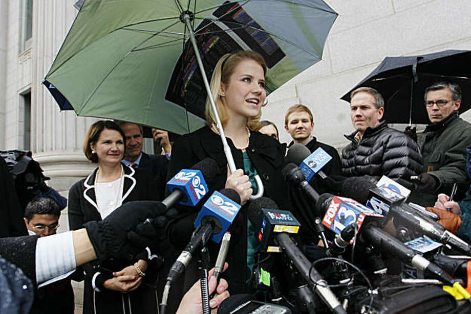 Elizabeth Smart addresses the media outside the federal court house following the guilty verdict in the Brian David Mitchell trail Friday, Dec. 10 2010 in Salt Lake City. Mitchell was found guilty for the June 5, 2002 kidnapping of Elizabeth Smart. Photo: Colin E. Braley, AP