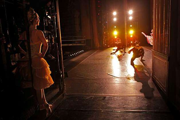 Alexandra Meyer, a Lorey Corps de Ballet Member, right,  waits backstage as she prepares to dance in the San Francisco Ballet production of the Nutcracker, during a dress rehearsal, Thursday Dec. 9, 2010, at the War Memorial House in San Francisco, Calif. Photo: Lacy Atkins, The Chronicle