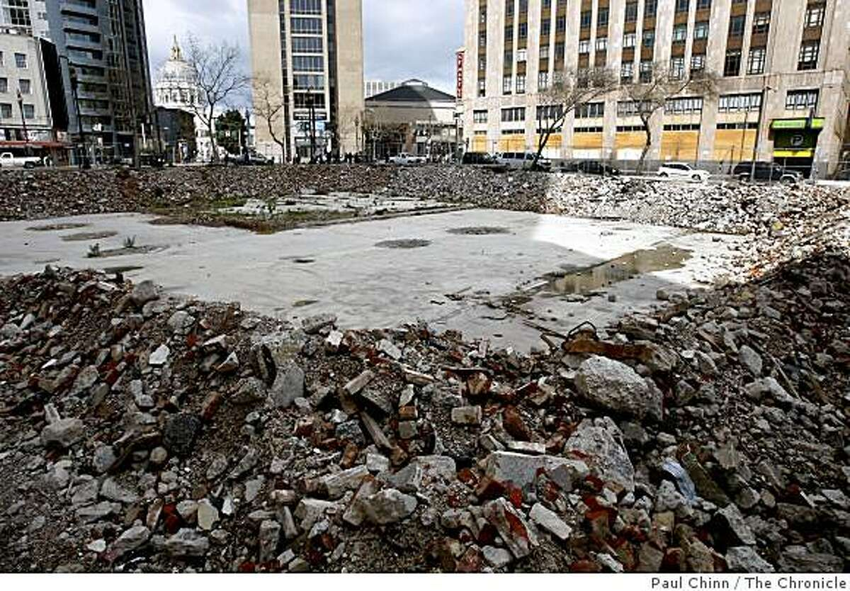 Developers are hoping to build a condo project on a vacant lot located on the southwest corner of Tenth and Market streets, seen in San Francisco, Calif., on Friday, March 6, 2009.