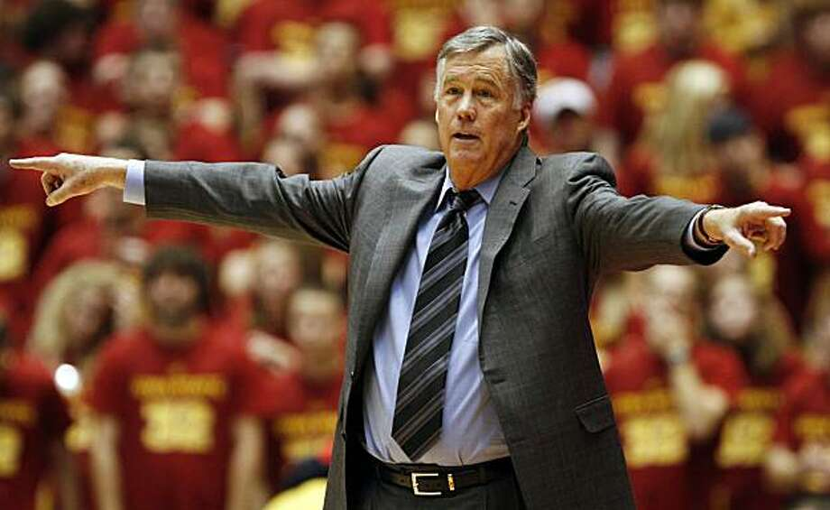 California coach Mike Montgomery directs his team during the first half of an NCAA college basketball game against Iowa State, Saturday, Dec. 4, 2010, in Ames, Iowa. California won 76-73. Photo: Charlie Neibergall, AP