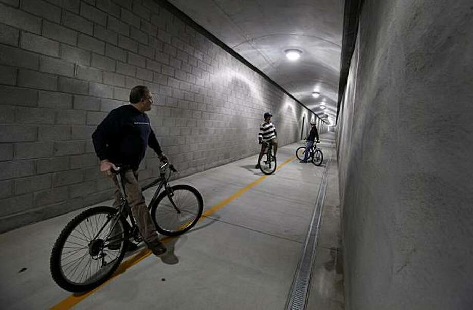 The 1100 foot tunnel has good lighting, cameras and graffiti proof cement walls. The Cal Park tunnel opens December 10, 2010 as a bicycle/pedestrian tunnel connecting San Rafael and Larkspur, Calif. Photo: Brant Ward, The Chronicle