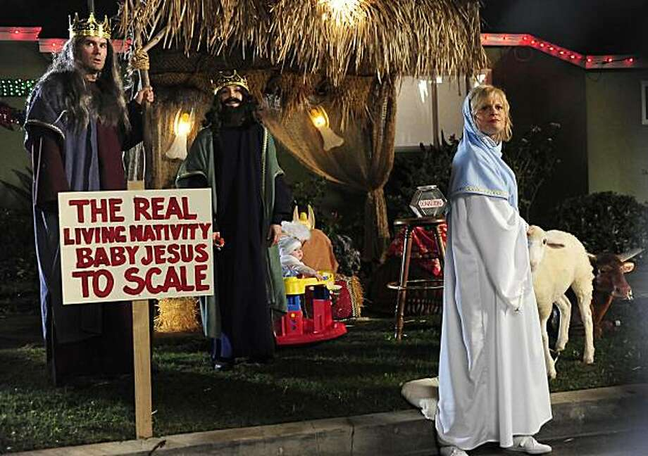 "RAISING HOPE:  Virginia (Martha Plimpton, R), Burt (Garret Dillahunt, L) and Sabrina (Shannon Woodward, C) participate in their church's living nativity scene in the ""Toy Story"" episode of RAISING HOPE airing Tuesday, Dec. 7 (9:00-9:30 PM ET/PT) on FOX. Photo: Ray Mickshaw, Fox"