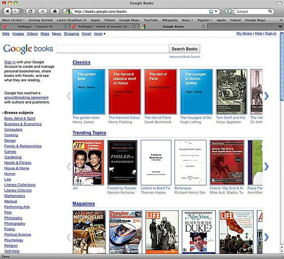 In this screen shot the Google books website is shown. The long-awaited Internet book store opening Monday, Dec. 6, 2010, in the U.S., draws upon a portion of the 15 million printed books that Google has scanned into its computers during the past six years. Photo: AP
