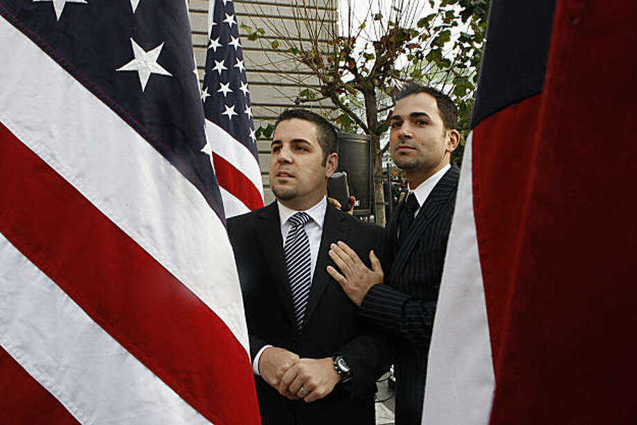 Plaintiff couple Jeff Zarillo (left) and his partner Paul Katami (right) as they wait to enter the federal appeals courthouse in San Francisco, Calif., on Monday, December 6, 2010. Photo: Liz Hafalia, The Chronicle