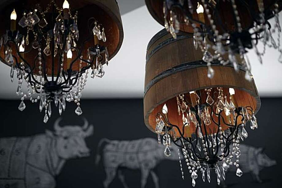 Chandeliers at Rotisserie & Wine, which opened in Napa on Dec. 1, 2010. Photo: Photo By John Lee, John Lee Pictures