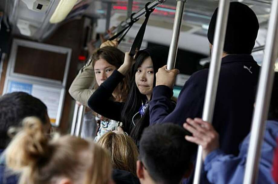 The breakdown of one 5 Fulton bus Tuesday September 7, 2010 makes the next one crowded for riders, although it arrived in about five minutes. The 5 Fulton MUNI line is one of the busiest in San Francisco and riders are pleased with the increased service. MUNI lines across San Francisco, Calif. have increased service by 60 percent Tuesday September 7, 2010. Photo: Brant Ward, The Chronicle