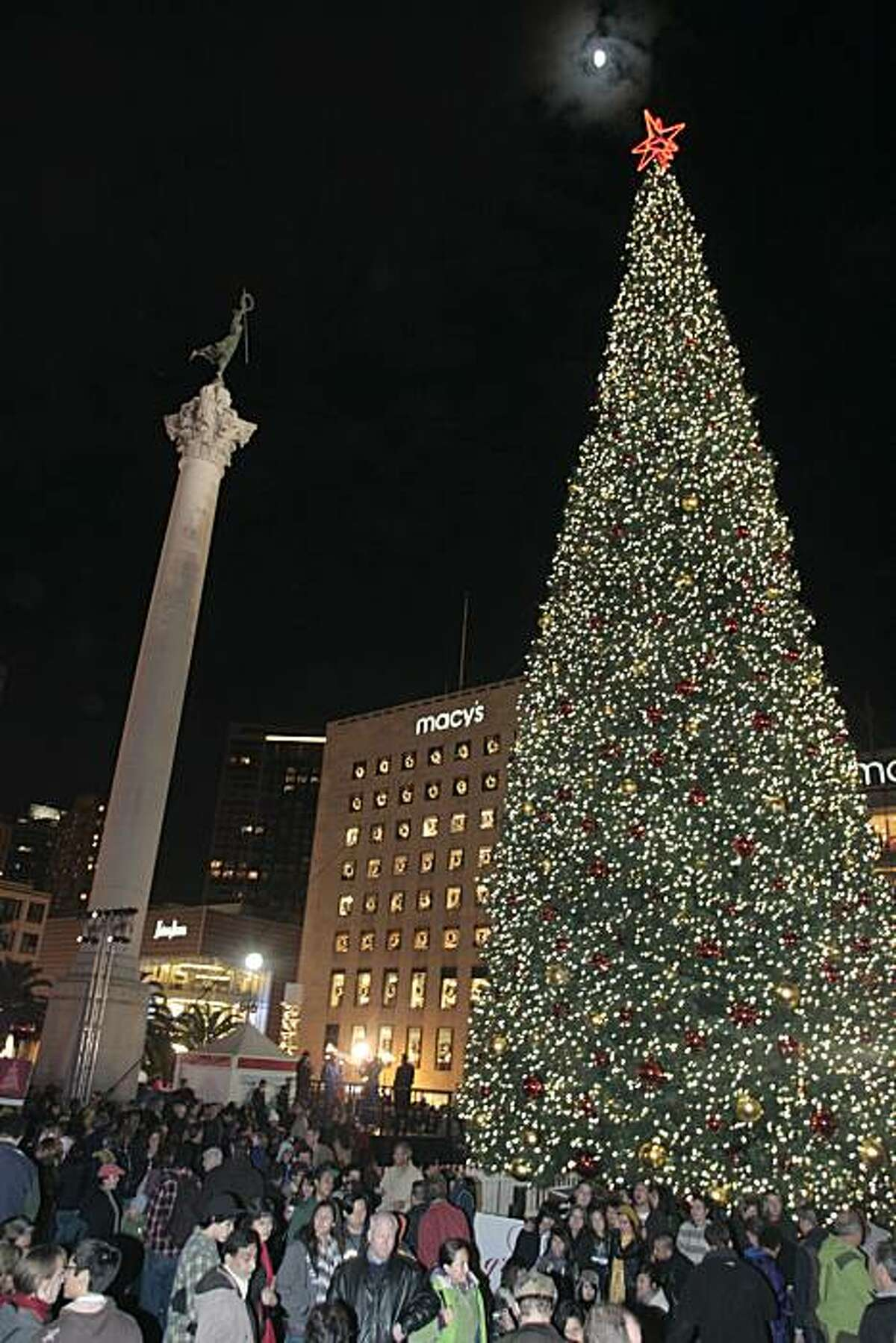 The lighting of an 85-foot Christmas tree at Union Square on Friday in San Francisco.
