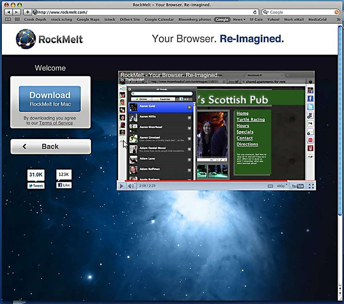 Screenshot from rockmelt.com, a Mountain View company that is launching a social web browser.