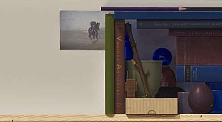 """Arrangement with Horse and Rider"" (2010) oil on panel by Michael Tompkins  10"" x 48"" Photo: Unknown, Paul Thiebaud Gallery, S.f."