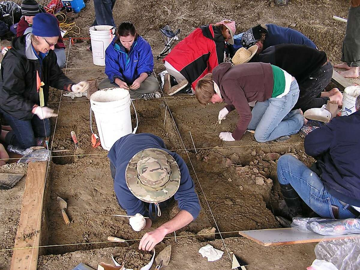 Archaeologists and students excavating the remains of two long-extinct Mammoths at a newly discovered site in Castroville.