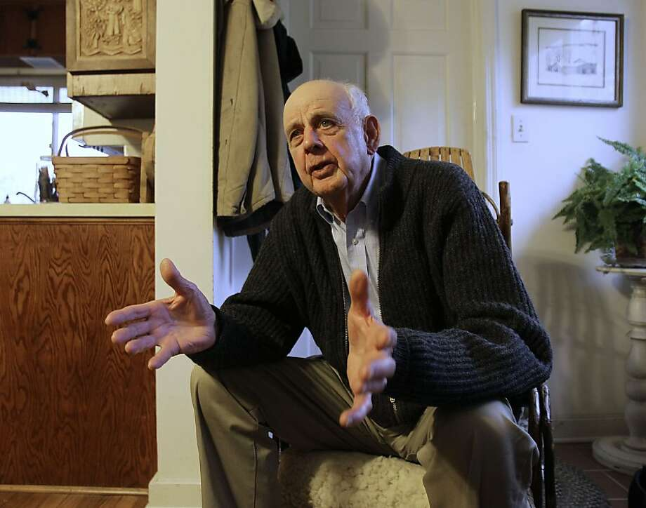 """In this March 10, 2011 photo, author Wendell Berry talks with a reporter at his home in Port Royal, Ky. From a three-day protest in the Kentucky governor's office to receiving a major honor at the White House, environmentalist and author Wendell Berry says he's had a lot going on lately. Last month he joined environmentalists for a sit-in at the office of Gov. Steve Beshear to protest strip-mining in Appalachia. Two weeks later, the 76-year-old author of 40 books was honored as a recipient of the National Humanities Medal for """"achievements as a poet, novelist, farmer, and conservationist."""" Authors John Updike, Toni Morrison and holocaust survivor Elie Wiesel have been awarded the medal in past years. Photo: Ed Reinke, AP"""