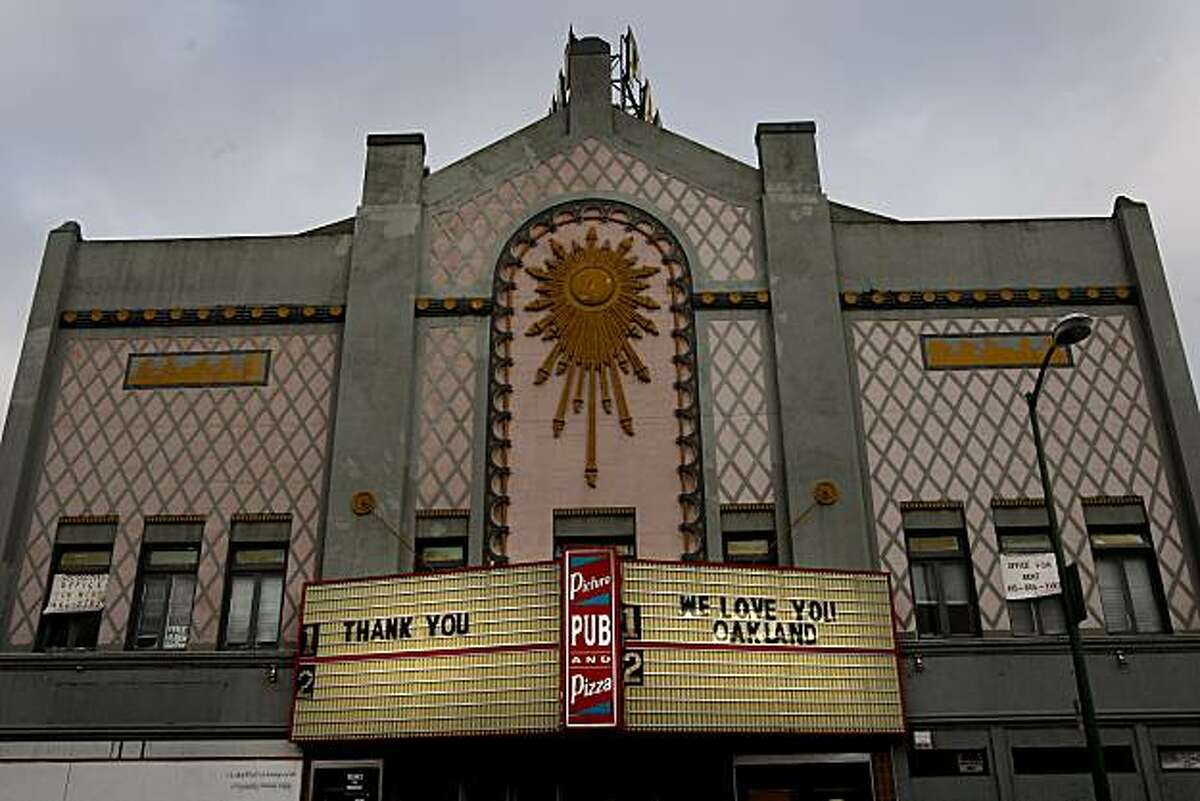 The Parkway theatre on Park Avenue in Oakland greets the Oakland community with its' billboards. Two East Bay theatres, the Parkway and Cerrito Speakeasy, closed for a time, may reopen soon.