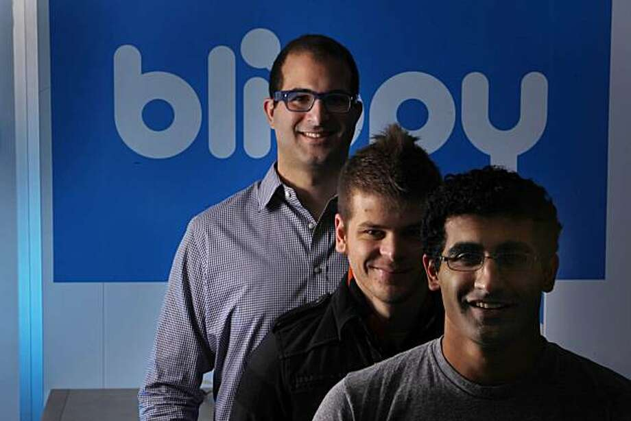 Philip Kaplan (l to r), Blippy co-founder, Chris Estreich, Blippy CTO/co-founder and Ashvin Kumar, Blippy, CEO/co-founder are seen at Blippy headquarters on Wednesday, December 1, 2010 in Palo Alto, Calif. Blippy is one of a series of new social shopping sites. Photo: Lea Suzuki, The Chronicle