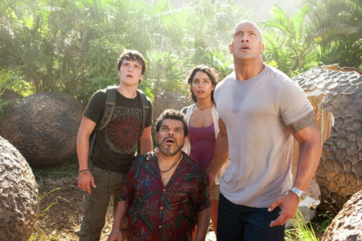 (L-R) Josh Hutcherson as Sean, Luis Guzman as Gabato, Vanessa Hudgens as Kailani and Dwayne Johnson as Hank in