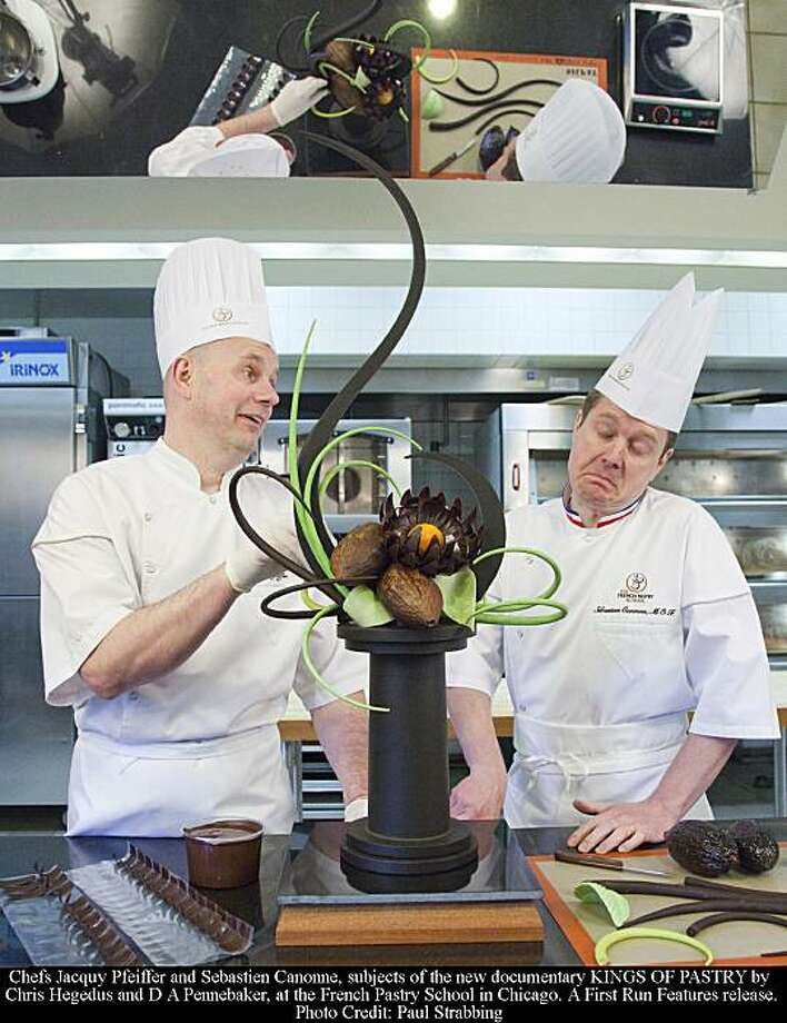 Chefs Jacquy Pfeiffer and Sebastien Canonne, subjects of the new documentary film KINGS OF PASTRY by Chris Hegedus and D A Pennebaker, at the French Pastry School in Chicago. Photo: Paul Strabbing, First Run Features