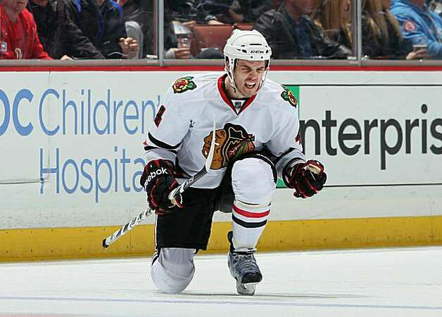 ANAHEIM, CA - NOVEMBER 26:  Niklas Hjalmarsson #4 of the Chicago Blackhawks celebrates his third period goal against the Anaheim Ducks at the Honda Center on November 26, 2010 in Anaheim, California. The Blackhawks defeated the Ducks 4-1. Photo: Jeff Gross, Getty Images
