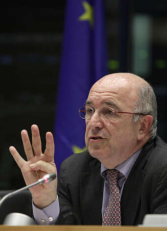 European Commissioner for Competition Joaquin Almunia gestures while speaking during a session at the European Parliament in Brussels on Tuesday, Nov. 30, 2010. The European Commission said it is launching a formal investigation into whether Google has abused its dominant market position in online searches. The EU's competition watchdog Joaquin Almunia said that the probe follows complaints from other online search providers that Google put them at a disadvantage in both its paid and unpaid search results. Photo: Virginia Mayo, AP