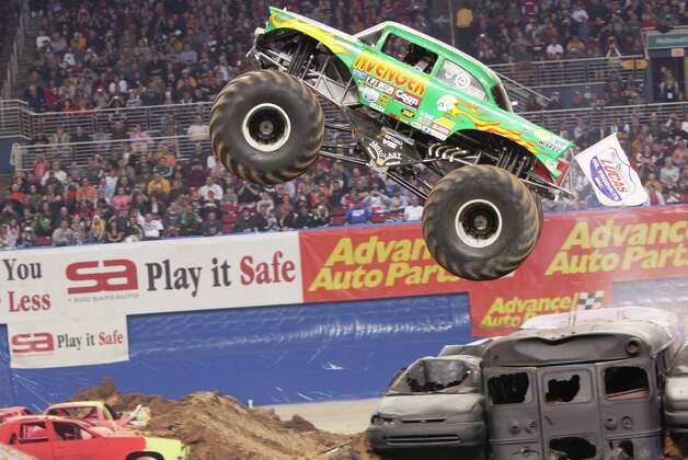 Monstre Jam truck Avenger driven by Jim Koehler takes flight at an event in 2009. Photo: Eric Stern, Courtesy Feld Entertainment