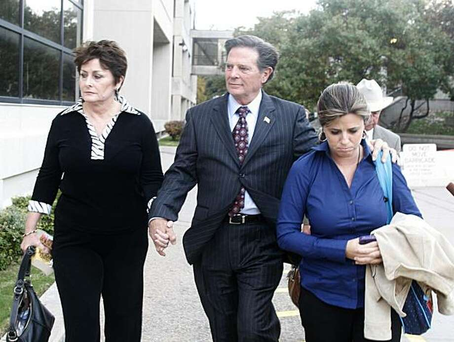 Former House Majority Leader Tom Delay, along with his wife, Christine, left, and daughter Danielle Garcia, leave the Travis Coumty Courthouse in Austin, Texas on Wednesday, Nov. 24, 2010. A jury found Delay guilty of money laundering and conspiracy to commit money laudering. Photo: Jack Plunkett, AP