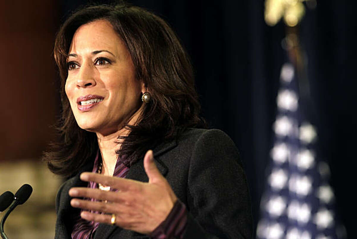 Kamala Harris declares victory in the Attorney general race, as she addresses the media and supporters, Tuesday Nov. 30, 2010, in San Francisco, Calif.