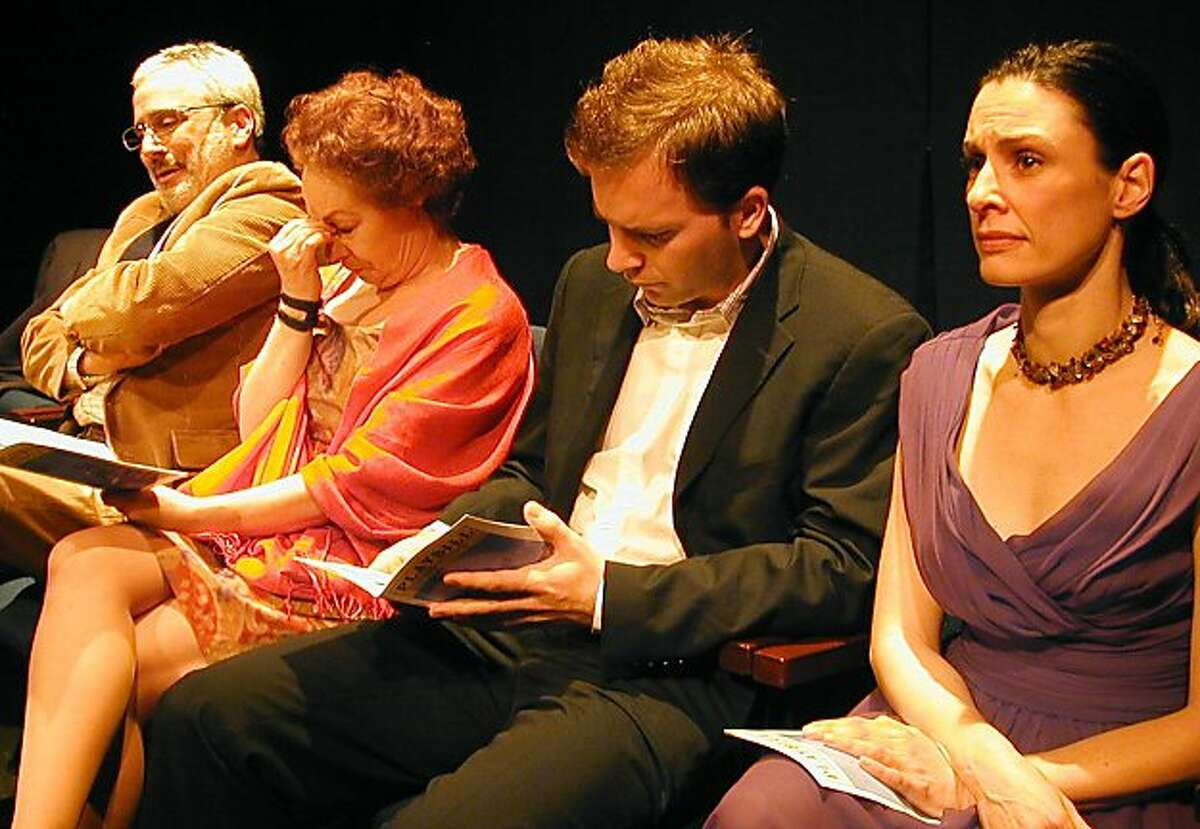 """Mr. Smith (David Sinaiko), Mrs. Smith (Gwyneth Richards), Jack (Galen Murphy-Hoffman) and Jill (Danielle O'Hare) react to a play in """"Intermission,"""" one of three one-acts by Will Eno at Cutting Ball Theater"""