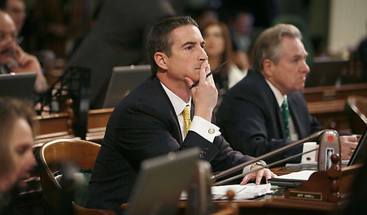 Assemblyman Jeff Gorell, R-Thousand Oaks, watches as a vote is taken on the Assembly floor at the Capitol in Sacramento, Calif., Thursday, March, 17, 2011.