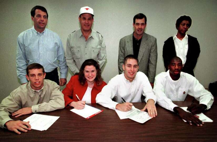 New Braunfels High School.  SPORTS  College scholarship signees at New Braunfels High School all sig