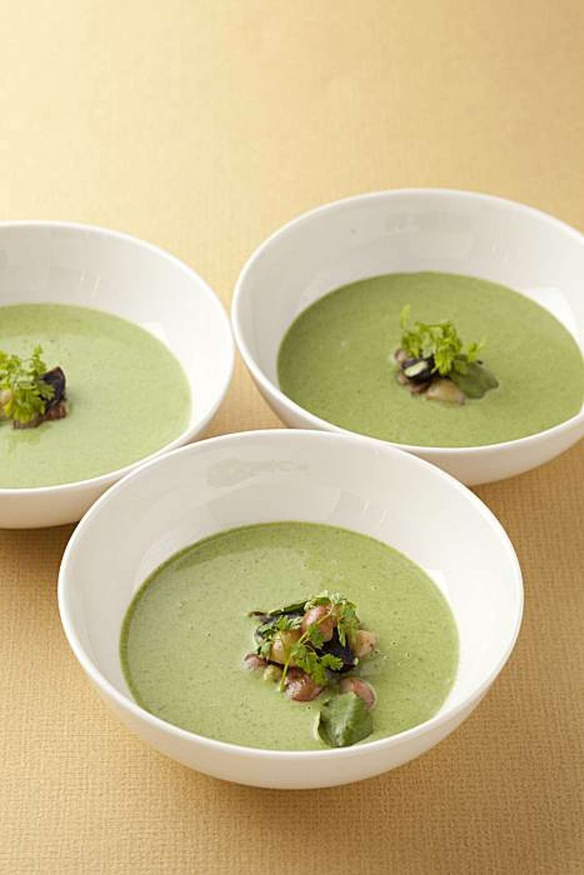 Wild nettle and green garlic soup, smoked potatoes, Meyer lemon (Charlie Parker, Plum restaurant) as seen in San Francisco, California, on February 2, 2011. Food styled by Lynne Char Bennett.