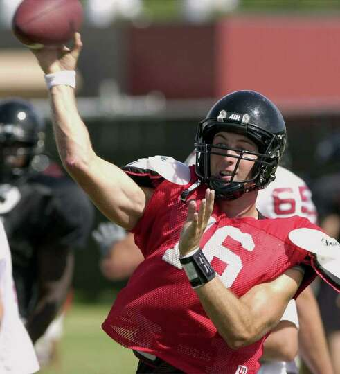 Texas Tech quarterback Kliff Kingsbury throws during practice Thursday August 17, 2000 on the Texas