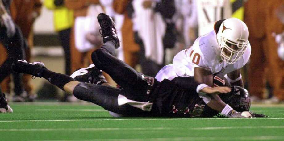 SPORTS   -   These are courtesy photos from the University of Texas for a feature on Texas Tech quarterback Kliff Kingsbury's return to Austin after getting repeatedly hit two years ago.   undated photo via e-mail Photo: UT / UNIVERSITY OF TEXAS