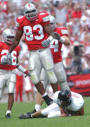 Ohio State defensive end Will Smith (93) leaps to his feet after sacking Texas Tech quarterback Klif